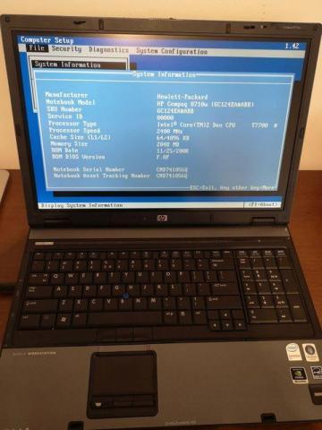 HP 8710w zasilacz 17'' cali SSD 120GB
